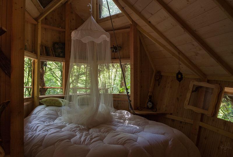 Intérieur d'une cabane perchée dans un arbre