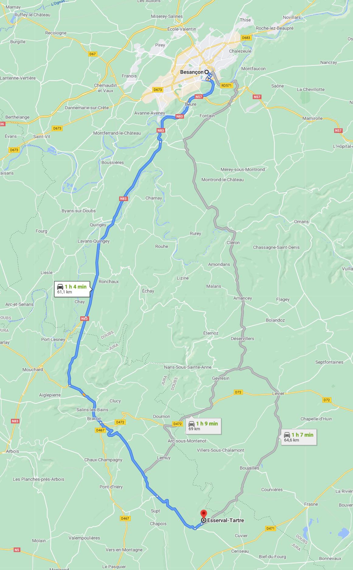Trajet de Besançon à la réserve intégrale